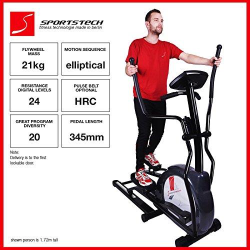 Sportstech CX630 professional crosstrainer with elliptical running motion, inertia 21 KG, 4x HRC - 20 training programs - 24 resistance levels - hometrainer ergometer elliptical stepper