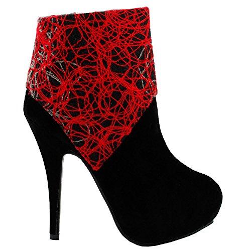 Voir l'établissement histoire Womens black Abstract lignes Print Stiletto plate-forme haut talon cheville Boot Bootie, LF30309