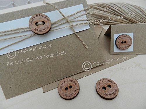 x25personalizado de botones de madera, favores, mesa Decor, invitaciones, Vintage bodas