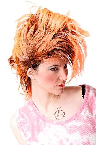 Faschingsperücke Karneval Punk Glam Vamp Mohawk Iro Auftoupiert Schwarz Neon Orange PW0078-1-P103PC24 ()