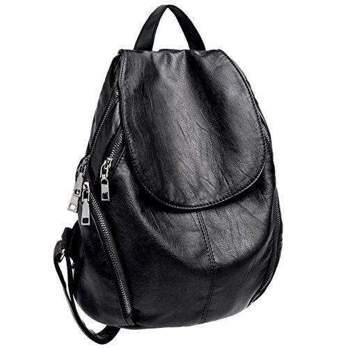 Versione aggiornata di grandi dimensioni--uto borse a zainetto donna pelle sintetica grande capacità zaino casual nero
