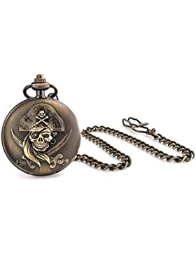 Antique Style Pirate Skull and Crossbones Gold Plated Mens Pocket Watch