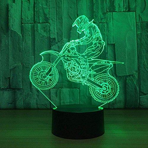 3D LED Optische Täuschung Lampen Nachtlicht, 7 Farben Touch Art Skulptur Lichter Mit USB Kabel Schlafzimmer Schreibtisch Tischdekoration Lampe Für Kinder Erwachsene, Motocross Bike (Bike-skulptur)