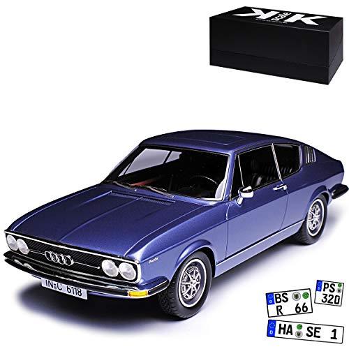 KK-Scale A-U-D-I 100 S C1 Coupe Blau 1968-1976 limitiert 500 Stück 1/18 Modell Auto mit individiuellem Wunschkennzeichen