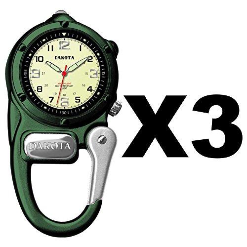 dakota-watch-company-mini-clip-microlight-watch-green-water-resistant-3-pack