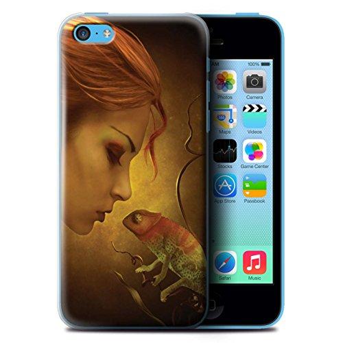 Officiel Elena Dudina Coque / Etui pour Apple iPhone 5C / Fille Rouge Design / Dragon Reptile Collection Cameleon