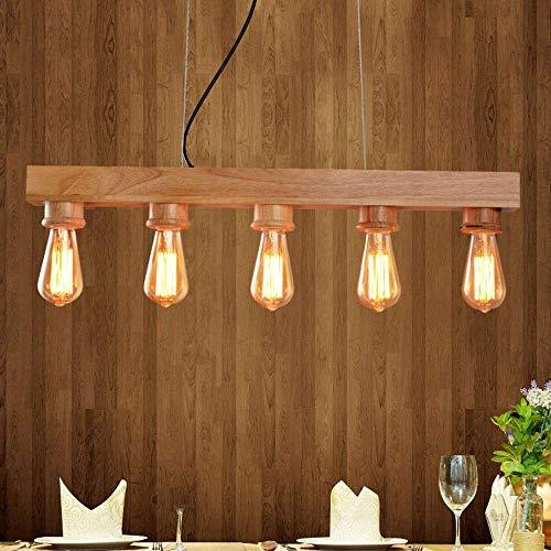 5-licht-esszimmer-kronleuchter (MU Dekorative Kronleuchter-Wandun Pendelleuchte, Massivholz Hängeleuchte Moderne 5-Wege-Pendelleuchte Deckenleuchten Einfache Esstisch Hängelampe Esszimmer 5-Licht-Holz-Pendelleuchte [Energieklasse A)