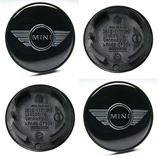sheibe Lot de 4 Moyeux Centre de Roue Mini (BMW) 55mm Couleur Logo Chrome Fond Noir.