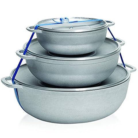 IMUSA USA GAU-89226 3-Piece Caldero Set, 18 by 24 by 28cm, Silver