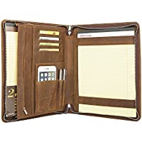 Coface Padfolio professionale con cerniera di chiusura, Crazy Horse Pelle, Padfolio per Micro Surface Book, A4 Notebook Paper - Esecutivo Cerniera Padfolio