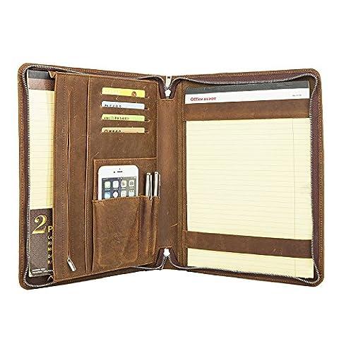 Coface Professional Padfolio avec fermeture à glissière, Crazy Horse en cuir véritable, Padfolio pour Micro Surface Book, A4 Notebook Paper - Esecutivo Cerniera Padfolio