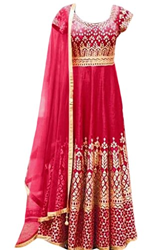 Salwar Suit (Sai Fab Women\'s Georgette Red Embroidered Work Semi-Stitched Salwar Suits)