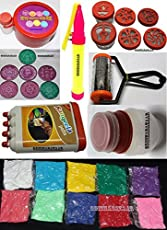 "Handsofodisha Ready to Draw Rangoli Making Kit Kolam 7 Stencil 3"" Saptahiki Set + 6 Stamp + 1 Filler + 1 Rangoli Pen + 1 Roller + 1 Rangeela Patta + 10 Bottle Color"