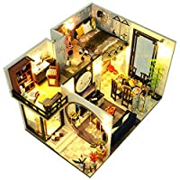 XXY-shop DIY Dollhouse Christmas,DIY Wooden Dolls House Handcraft Miniature Kit Chinese Style Loft Cottage with LED Lights Play Set for Kids and Adults Christmas Birthday Gift