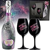 Sansibar Rosé Prosecco Geschenk-Set |inkl. 2 Champagnergläsern aus schwarzem Kirstallglas | mit rosé-pink Emblem | Luxusgeschenk für Mann und Frau |Präsent-Box mit Geschenk-karte