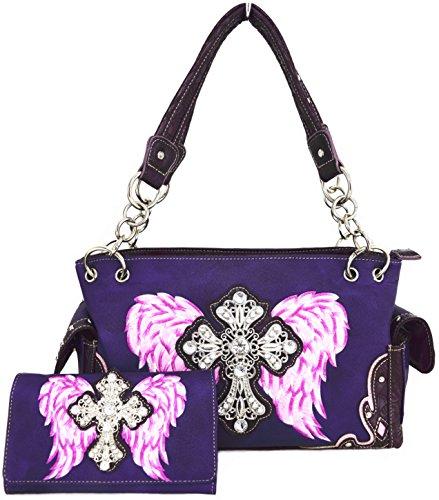 Blancho Biancheria da letto delle donne [Antico Castello] PU Leather Bag Set Elegante Portafoglio Hanbag Comobo Fashion Bag viola Combo-Viola