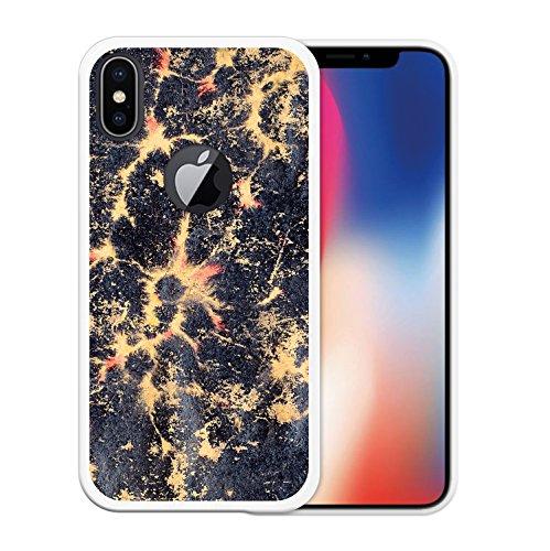 iPhone X Hülle, WoowCase Handyhülle Silikon für [ iPhone X ] Weißer und blauer Marmor Handytasche Handy Cover Case Schutzhülle Flexible TPU - Transparent Housse Gel iPhone X Transparent D0550