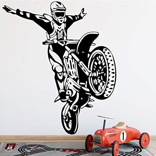 BFMBCH Adesivi murali motociclista stuntman Accessori moda moderna Accessori decorazione della casa Soggiorno Adesivi murali ragazzo camera da letto Wall Art Viola L 43cm X 50cm