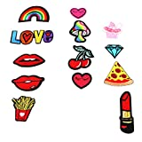 #9: Segolike 13 Pieces Embroidery Love Lips Sew Iron On Patch Badge Clothes Bag Applique DIY