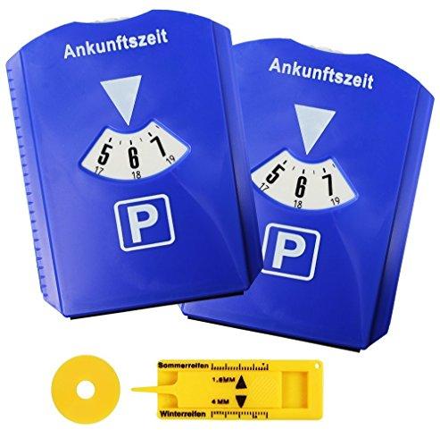 Preisvergleich Produktbild 2-er Set Parkscheibe mit Eiskratzer, Parkuhr fürs Auto mit Einkaufswagenchip, Reifen-Profilmesser, Kunststoff, Blau, M&H-24