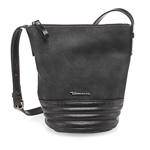 TAMARIS CARLA Damen Handtasche, Crossbody Bag, Umhängetasche, 21x22x14 cm (B x H x T), 4 Farben: graphite, cognac, navy oder schwarz