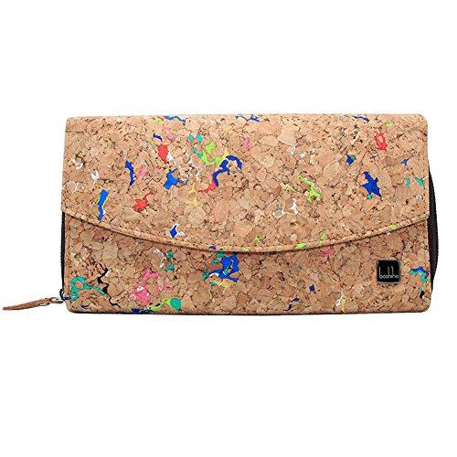 boshiho Damen Geldbörse aus Korkleder, Ökologisch & Vegan, Frauen Portemonnaie Kork, Geschenkverpackung Geschenk (Multi cork) - Multi-kupplungs-geldbeutel