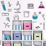 LINGBU Sticker Mural PVC Microscope Science Scientifique Chimie École De Laboratoire Vinyle Sticker Mural Décor À La Maison Enfants Chambre Chambre Salon...