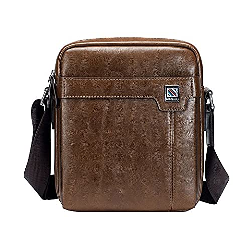 Ranbow Mens PU Leather Crossbody Sac Business Sac à main en cuir Porte-documents Slim Messenger léger Voyage Mallette, Khaki