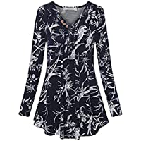 TEELONG Bluse Damen Herbst Winter Langarm Rundhalsausschnitt Solid Button Pullover Bluse Top ShirtSweatshirt Longpullover Pulli Strickpullover Winterjacke Kapuze