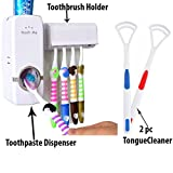 #3: ShoppoStreet Automatic toothpaste Dispenser With 5 Toothbrush Holder With 2 pcs Tongue Cleaner Absolutely Free