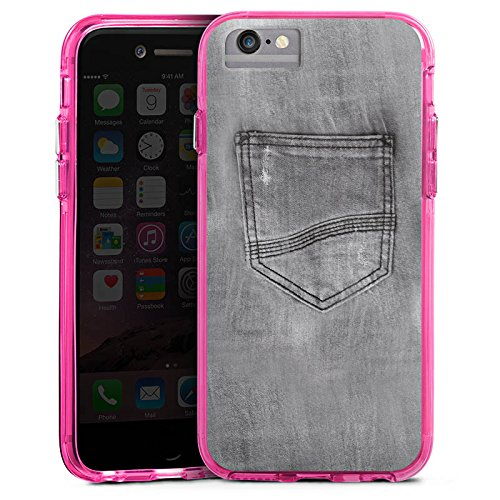 Apple iPhone 6s Plus Bumper Hülle Bumper Case Glitzer Hülle Jeans Style Hose Grey Bumper Case transparent pink