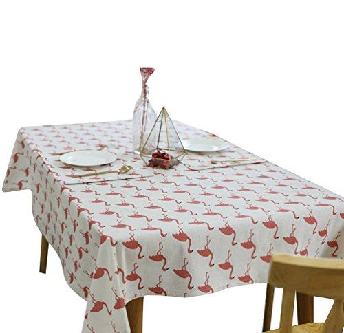 Binhee Leinen & Baumwolle Dekorative Tischdecke Wasserdicht Flamingo Muster Tischdecke