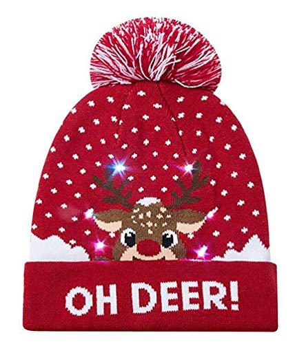 SMITHROAD Lustige Mützen LED Mütze Weihnachtsmütze Strickmütze mit Farbige Lichter Nikolausmütze Partyhut Leuchten Geburtstag Hut Wintermütze für Disco, Party, Geburtstag