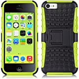 iPhone 5C Hülle, JAMMYLIZARD [ ALLIGATOR ] Doppelschutz Outdoor-Hülle für iPhone 5C, LIMONENGRÜN
