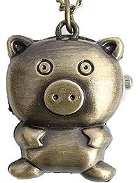 Maybesky Reloj de Bolsillo pequeño del pequeño Cerdo Lindo de la Vendimia con el Regalo del cumpleaños de los niños de la Cadena Caja de Regalo para cumpleaños Aniversario día Nav