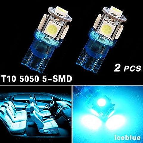 2x iceblue t10 5SMD 5050 llevó coche cúpula licencia luz mapa W5W 158 192 194 168 ( Light Source Color : Azul )