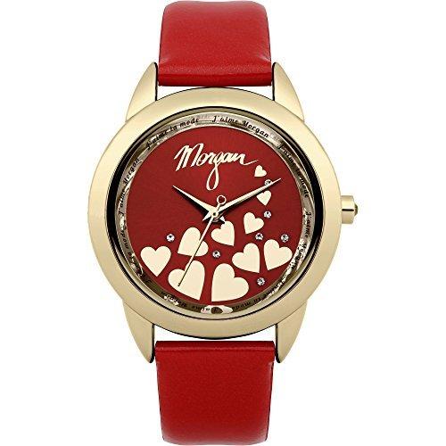 Morgan De Toi m1164r Rosso Brevetto cinturino in pelle con Quadrante Oro Tono Housing e rosso