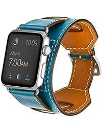 Apple Watch Band, Sanday Muñequera Correa de piel auténtica con 38mm & 42mm para Apple Watch iWatch Eduction & Sport