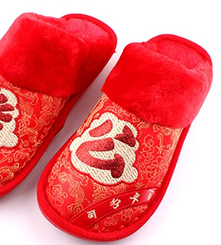 Faraly Nouveau Coton Pantoufles Brodé Couple Mariage Sangles