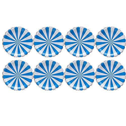 aloiness Blaue Streifen Pappteller Pappbecher Edel-Dekorativ Partygeschirr Stabiles Einweggeschirr für Grillfeste oder Geburtstage Splitterfreie Verwendung Kinder Basteln Pappteller -