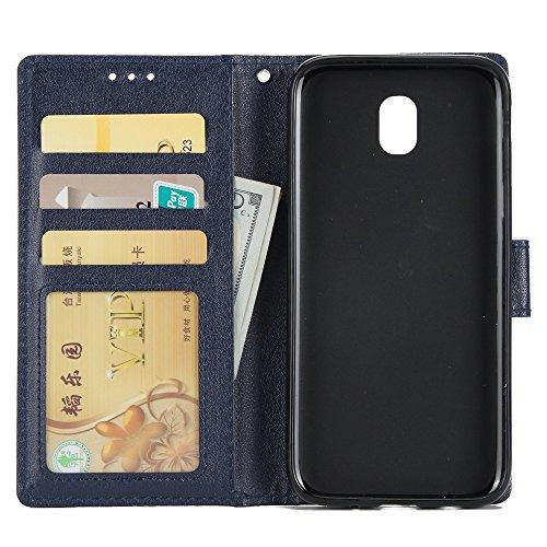 Klassische Premiu PU Ledertasche, Horizontale Flip Stand Case Cover mit Cash & Card Slots & Lanyard & Soft TPU Interio Rückseite für Samsung Galaxy J730 ( Color : Gold ) Darkblue