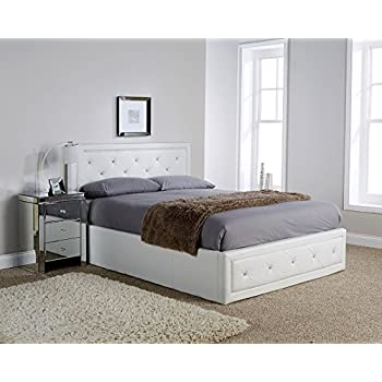 Hollywood crystal gas lift storage bed 4ft6 double size white faux leather a - Lit mezzanine 140x190 bois ...
