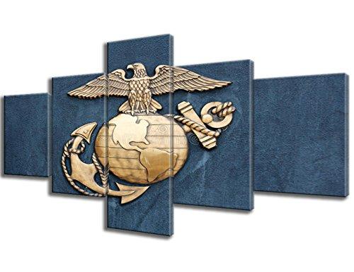 Marineblau Veteran Geschenke 5Panel Leinwand Wand Art Insignia der United States Marine Corps Bild Gemälde Modern Artwork Art Home Decor Wohnzimmer gerahmt 61fertig Zum Aufhängen (127cm WX24H) -