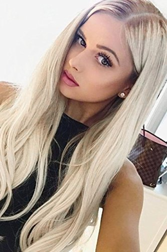 ücken Blonde Ombre Perücke, 24 Zoll lang gerade Mitte Teil Synthetic Full Perücke Fashion Ash Blonde 2 Tones mit Braun Wurzeln für Damen ()