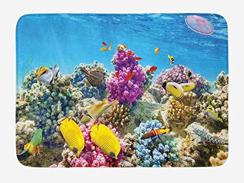 ziHeadwear Ocean Bath Mat, Intact Sea Life Fish School and Medusa Jellyfish at Clear Lagoon, Plush Bathroom Decor Mat with Non Slip Backing, 29.5 W X 17.5 W Inches, Lavender Yellow and Aqua Blue - Medusa Red Square