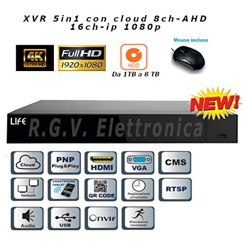 XVR H265 5in1, 8CH-AHD 1080H/16CH-IP 1080p, HDMI 4K, AUDIO, SLOTxHD