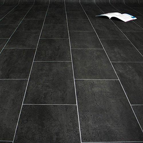 PVC Bodenbelag Fliese Anthracite Melbourne Noir Breite 3 m (9,50 EUR pro m²)