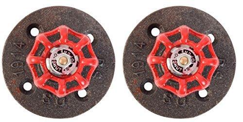 Industrie Rohr Stand-WC Papier Halter für zwei perfekt für moderne, minimalistische, rustikal, Steampunk, und Industrielle Möbel 2 Hook Hanger red, steel -