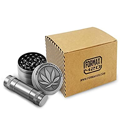 Formax420 Metal Herb Grinder 2 Inch 4 Pieces Spice Mill Crusher With Pollen presser and Pollen Catcher by Formax420