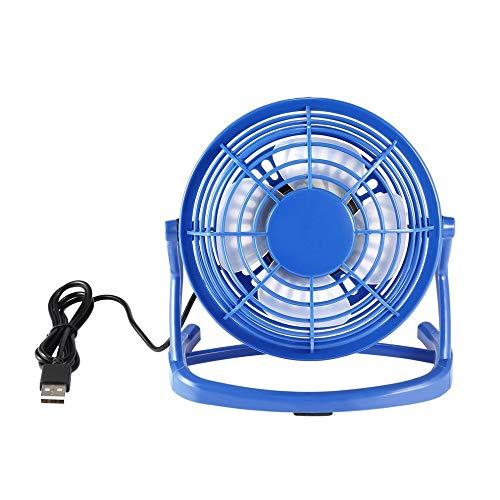 Elettrodomestico da scrivania silenzioso usb, raffreddamento fan small desk usb cooler quiet mini auto usb fan home silent desktop fan, con rotazione 360 azzurro
